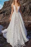 Vestido de novia Natural tul Baja escote en V Escote en V Hasta el suelo