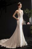 Vestido de novia Corte Sirena Sala Satén Capa de encaje largo Escote de Tirantes Espaguetis