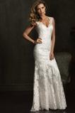 Vestido de novia Encaje Alto cubierto Escote en V Corte Sirena Manga tapada