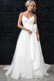 Vestido de novia Lazos tul Fuera de casa Cola Capilla Natural Escote de Tirantes Espaguetis