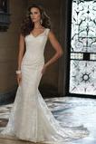 Vestido de novia Encaje Escote en V Alto cubierto Sin cintura Sala Cola Capilla