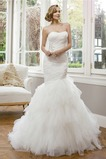Vestido de novia Elegante Sala Corte Sirena Sin tirantes Cristal Natural