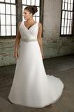 Vestido de novia Tallas grandes Cinturón de cuentas Espalda medio descubierto