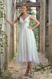 Vestido de novia Encaje Escote en V Hasta la Tibia Corte-A Natural Espalda Descubierta