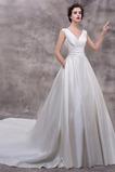 Vestido de novia Elegante Escote en V Dobladillos Corte-A largo Satén