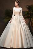 Vestido de novia Manga larga Verano Triángulo Invertido Corte-A Escote con Hombros caídos