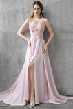 Vestido de fiesta Corte-A Frontal Dividida Rosetón Acentuado Formal Satén