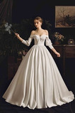 Vestido de novia Sencillo Corte-A Cola Corte Blusa plisada Natural Satén