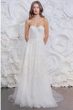 Vestido de novia Sencillo Playa Cremallera Corte-A Natural Apliques