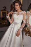 Vestido de novia Manga larga Cola Catedral Barco Apliques Pura espalda