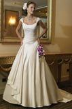 Vestido de novia Corte-A Barco Satén Cola Capilla Apliques Cordón
