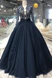 Vestido de novia Elegante Falta Natural Corte-A Manga larga tul