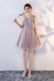 Vestido de dama de honor Corto Corte-A Rosetón Acentuado Flores Natural Sin mangas