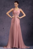 Vestido de noche Rosa Perla Cola Barriba Imperio Rosetón Acentuado Blusa plisada