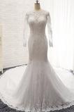 Vestido de novia Corte Sirena Natural Manga larga Botón Capa de encaje