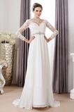 Vestido de novia Pura espalda Imperio Cintura Cinturón de cuentas largo
