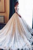 Vestido de novia Pura espalda tul Sala Mangas Illusion Capa de encaje