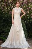 Vestido de novia Cremallera Triángulo Invertido Encaje Verano Natural