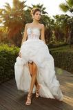 Vestido de novia Formal Falta Otoño Organza Apliques Asimètrico