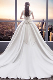 Vestido de novia Sin mangas largo Arco Acentuado Satén Escote Cuadrado