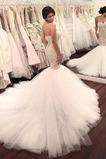 Vestido de novia Elegante tul Cola Corte Fuera de casa Sin mangas Espalda Descubierta