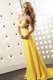 Vestido de fiesta primavera Natural Amarillo Corte Recto Escote en V