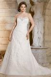 Vestido de novia Cremallera Escote Corazón Corte-A Sin mangas largo