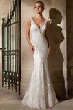 Vestido de novia Encaje Sin mangas Sala Cola Capilla Escote en V Corte Sirena