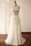 Vestido de novia Encaje Cinturón de cuentas Natural Fuera de casa Corte-A