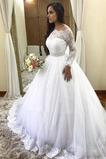 Vestido de novia Escote con Hombros caídos Playa Capa de encaje Mangas Illusion