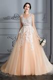 Vestido de novia Corte-A Barco Sin mangas Cremallera Capa de encaje