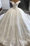 Vestido de novia Elegante Corte-A Iglesia Falta Capa de encaje Cola Catedral