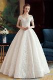 Vestido de novia vendimia Apliques Hasta el suelo Natural Espalda con ojo de cerradura