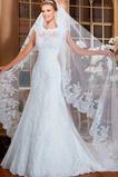 Vestido de novia Alto cubierto Manga corta Sala Joya Encaje Corte-A