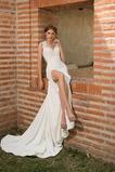 Vestido de novia Verano Satén Elástico Queen Anne Playa Apliques Cola Catedral