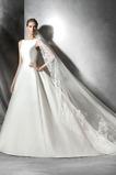 Vestido de novia Sala Satén Con velo Volantes Adorno Corte-A Natural