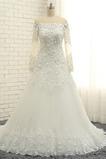 Vestido de novia Iglesia Rosetón Acentuado Capa de encaje Hasta el suelo