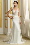 Vestido de novia Falta primavera Drapeado Satén Capa de encaje Natural
