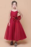 Vestido niña ceremonia Sin mangas Lazos tul Natural Elegante Falta