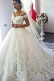 Vestido de novia Encaje Natural Manga tapada Cordón vendimia Falta