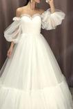 Vestido de novia Sencillo Triángulo Invertido tul Manga farol Cola Barriba