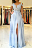 Vestido de noche Elegante Corte-A Natural Apliques Encaje Transparente
