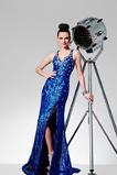 Vestido de fiesta Elegante Escote en V largo Corte Recto Espalda medio descubierto
