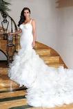 Vestido de novia Corte Sirena Escalonado Organza Natural Otoño largo
