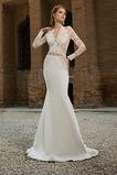 Vestido de novia Playa Natural Corte Sirena Cremallera Apliques Mangas Illusion