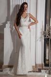 Vestido de novia Lazos Natural Cordón Encaje Sin mangas Escote en V