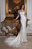 Vestido de novia Playa largo Satén Elástico Apliques Barco Corte Recto
