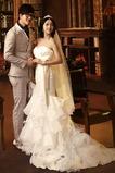 Vestido de novia Organza Natural Sala Con velo Cola Capilla Escote Corazón