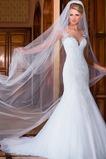 Vestido de novia Corte Sirena Otoño Manga tapada Joya largo Sala