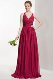 Vestido de dama de honor Cremallera Corte-A Verano Gasa Natural Escote en V